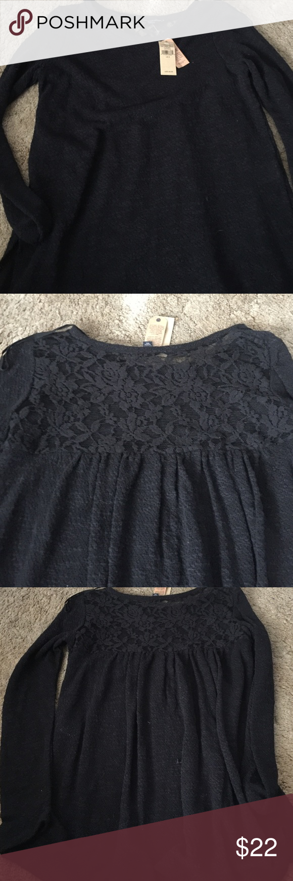 American Eagle Lace Back Sweater Never been worn! Very cute Sweater, with a lace back. NO TRADES. Price is negotiable American Eagle Outfitters Sweaters Crew & Scoop Necks