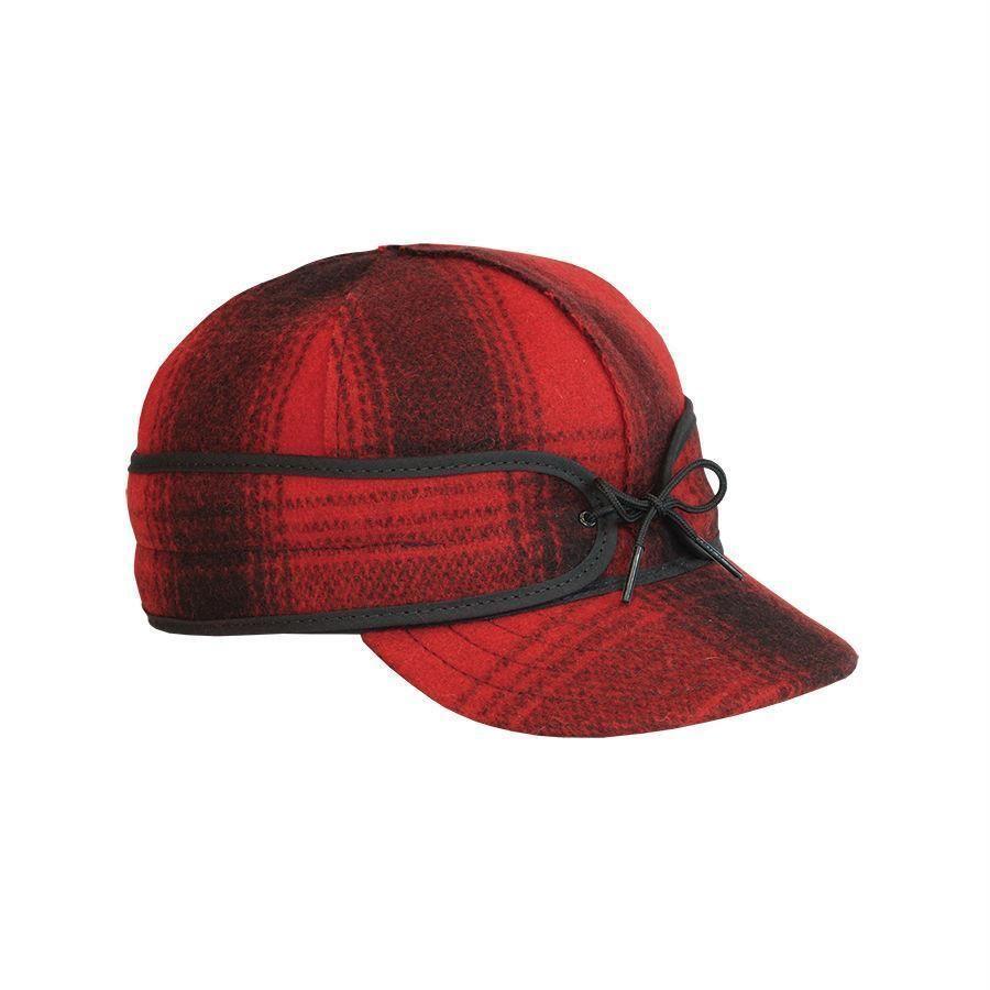 7 3 8 Original Men s Stormy Kromer Wool Hat Cap Red Black Plaid Made ... 60669087557b