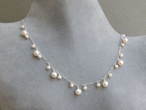 Dancing Pearl Necklace White Pearls Delicate Silver by seemomster, $125.00 #jewelryonetsy