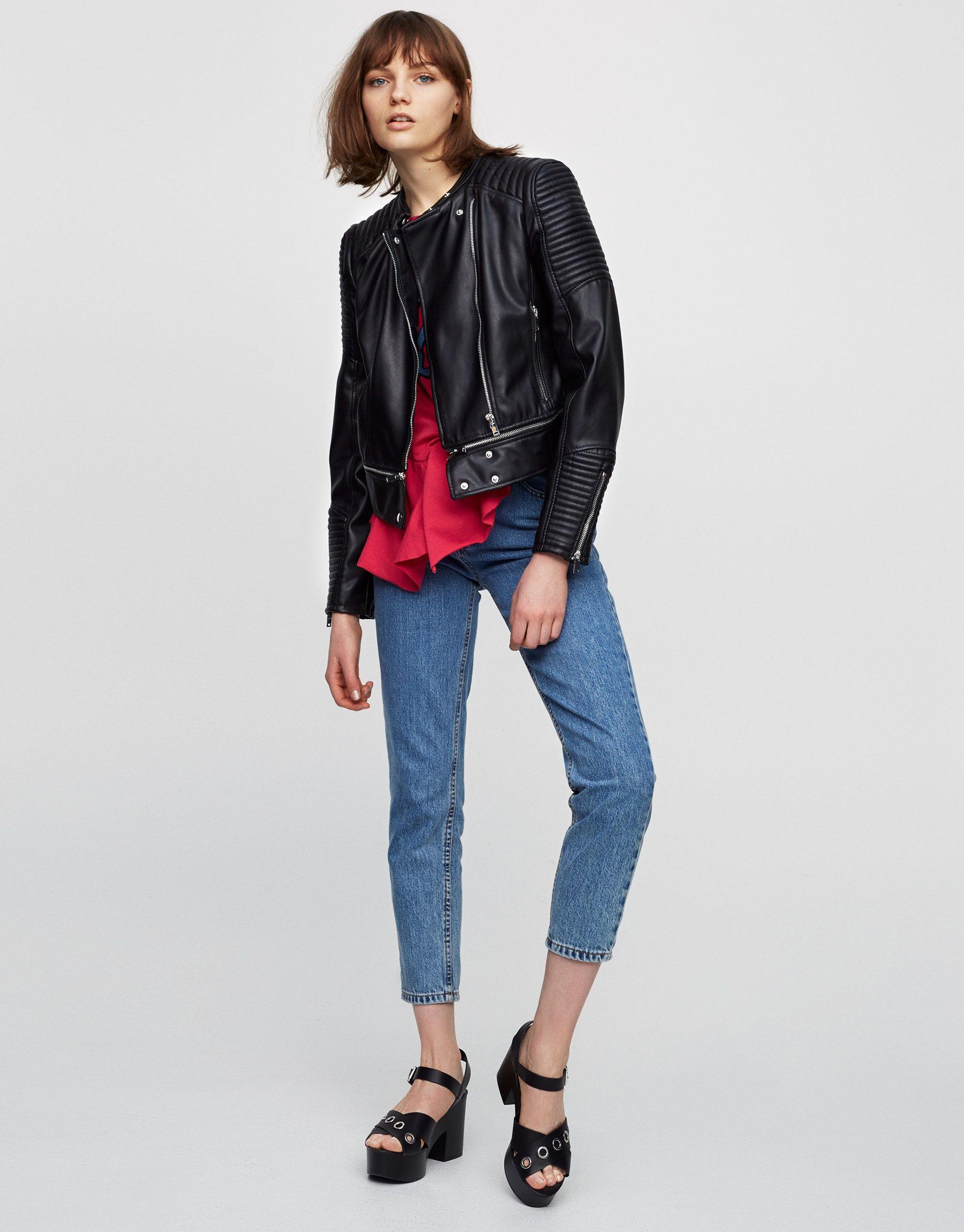 Faux leather jacket with zipped hem Biker jackets