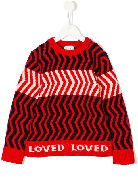 Gucci Kids zig zag pattern jumper