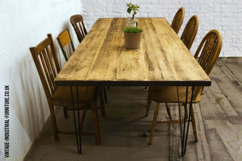 Hairpin leg dining table vintage industrial furniture for Vintage hairpin table legs