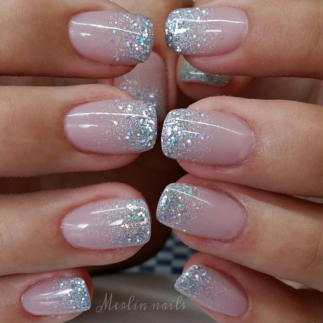 "Merlin nails on Instagram: ""Simple sparkling ombre #crystalnails #gel #gelnails #nail #nails #nailstagram #nailsofinstagram #notpolish #manicure #artnails…"""