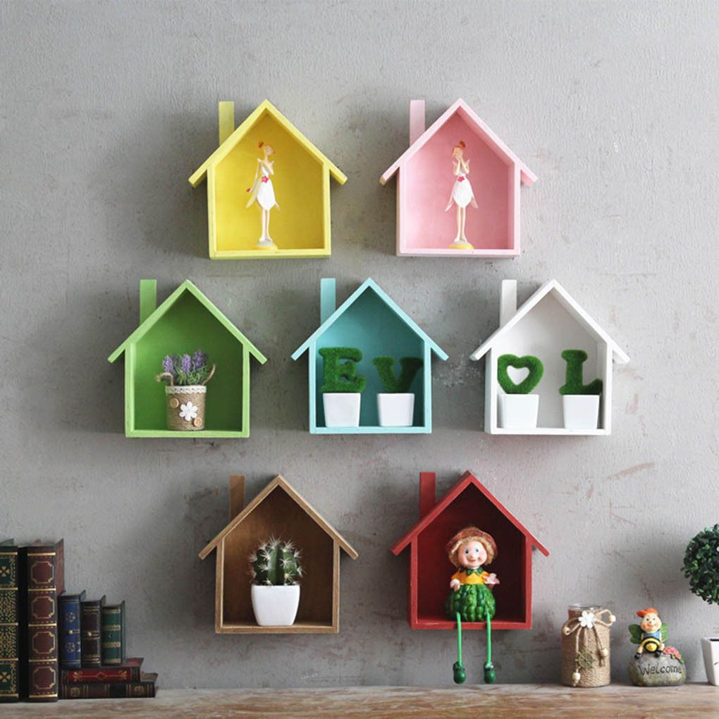 Details About Wooden House Shelving Display Unit Shelf Wall Hanging Box Storage Craft Wooden Wall Decor House Shelves Craft Storage Box