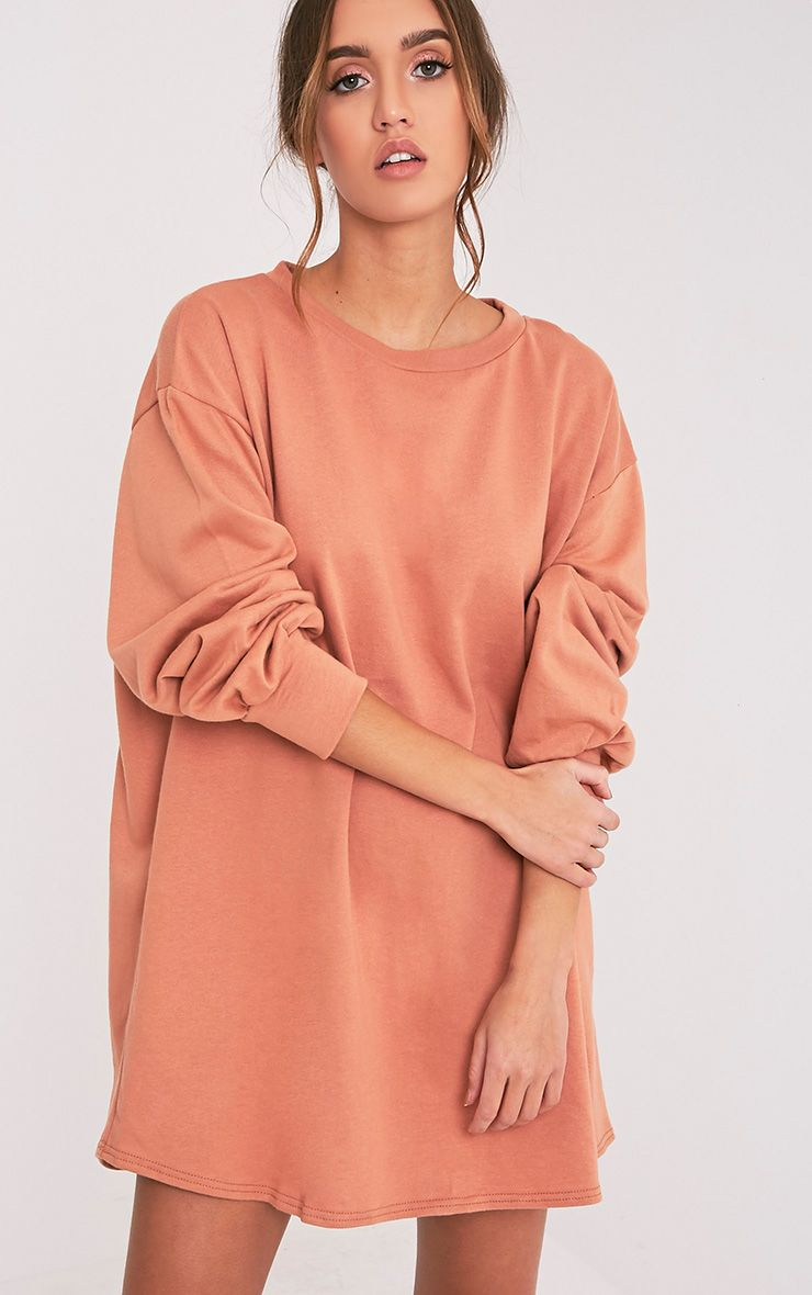 Sianna Deep Peach Oversized Sweater Dress - Dresses ...