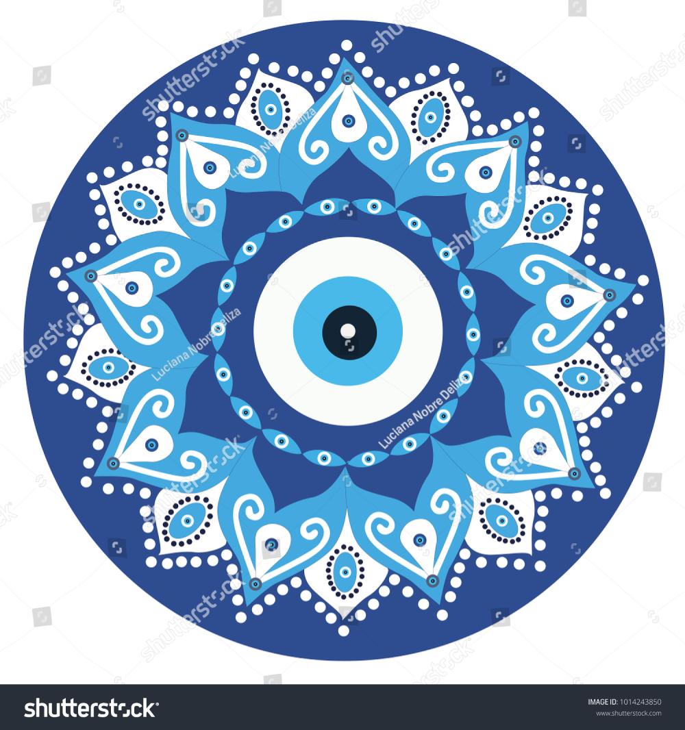 Mandala Greek Evil Eye Vector Symbol Stock Vector Royalty Free 1014243850 Evil Eye Art Greek Evil Eye Evil Eye Design
