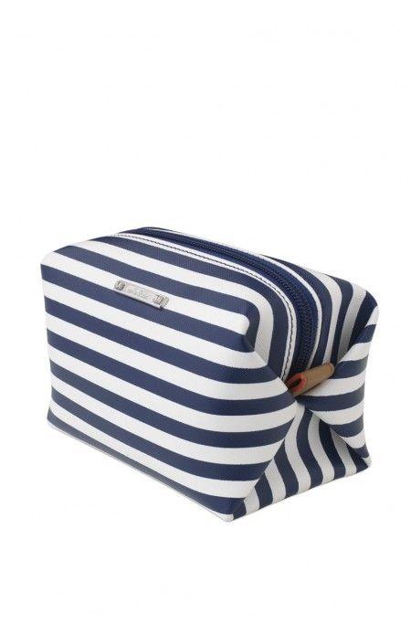 Navy Stripe Print Cosmetic Pouf Zippered Case Pouf Case Stella Simple Stella And Dot Pouf