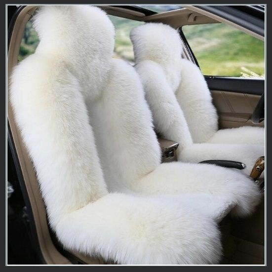 Fluffy Pure White Luxury Australian Lambskin Wool Fur Seat Cover Protectors Sheepskin Car Seat Covers Carseat Cover Cool Car Accessories