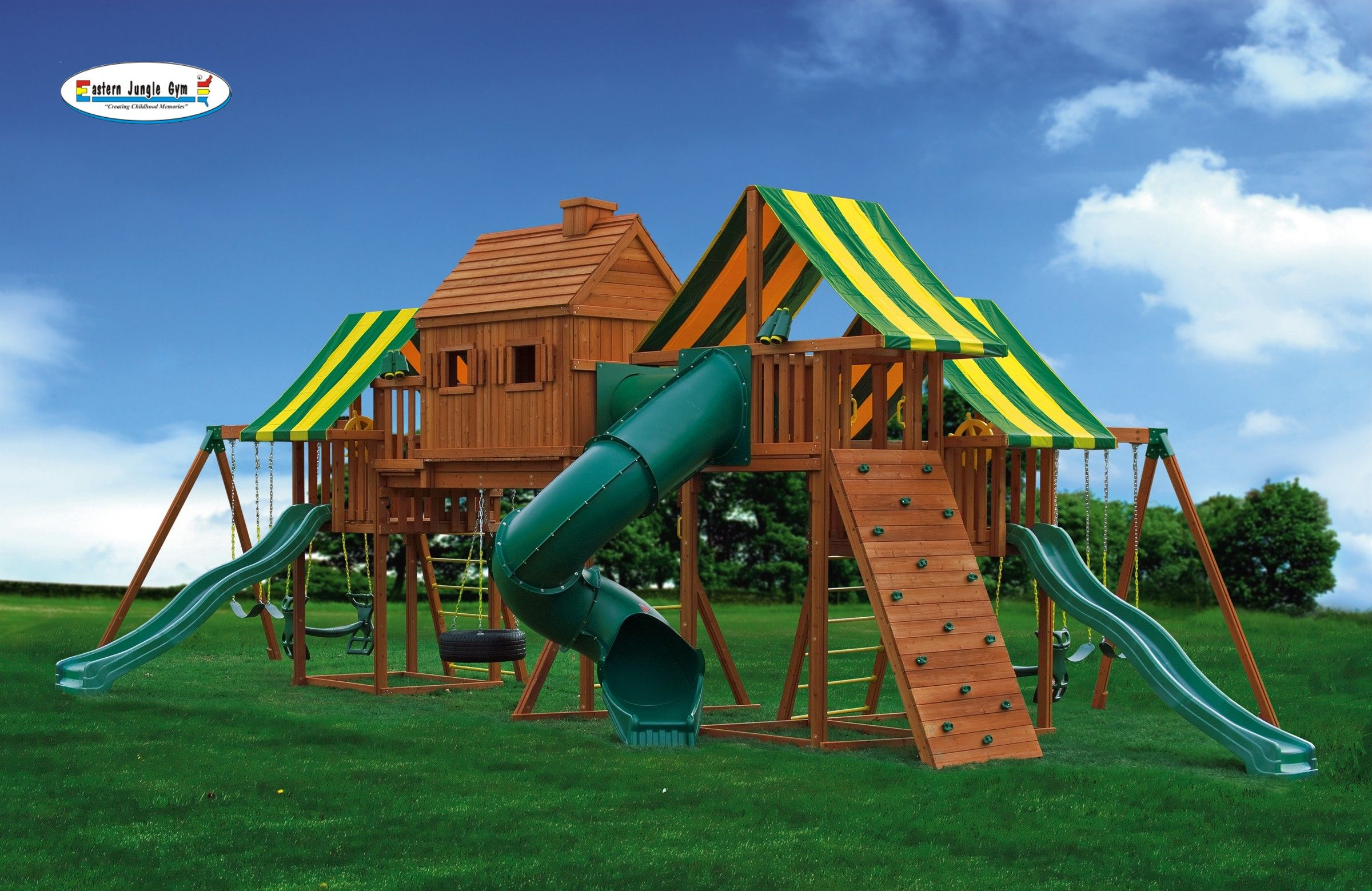 imagination 1 cedar playset clubhouses tree houses and swings