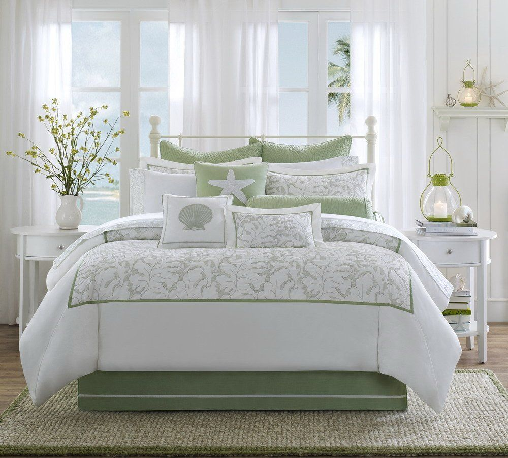 Green bedding. beach themed bedroom ideas for adults   Soft Green and White