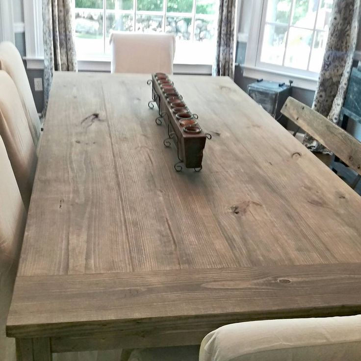 7ft Farmhouse Table Stain Weathered Grey Seal Matte I Love The Way This Table Tur Rustic Farmhouse Table Farmhouse Kitchen Tables Trendy Farmhouse Kitchen