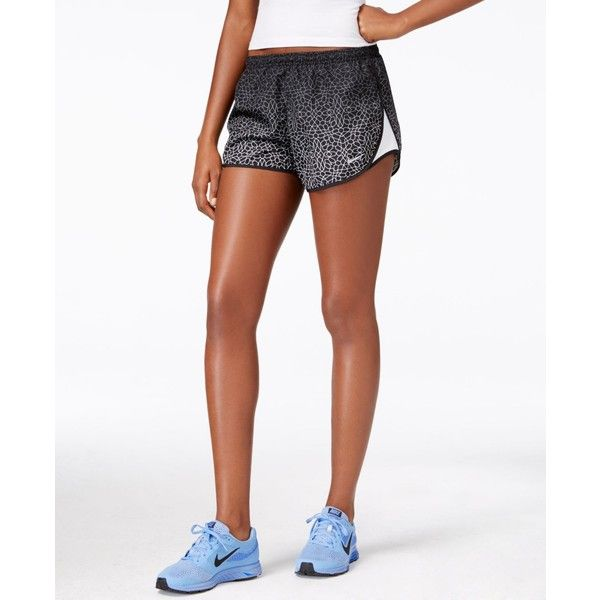 Nike Starglass Printed Dri-fit Tempo Shorts ($27) ❤ liked on Polyvore featuring activewear, activewear shorts, black, nike activewear, nike and nike sportswear