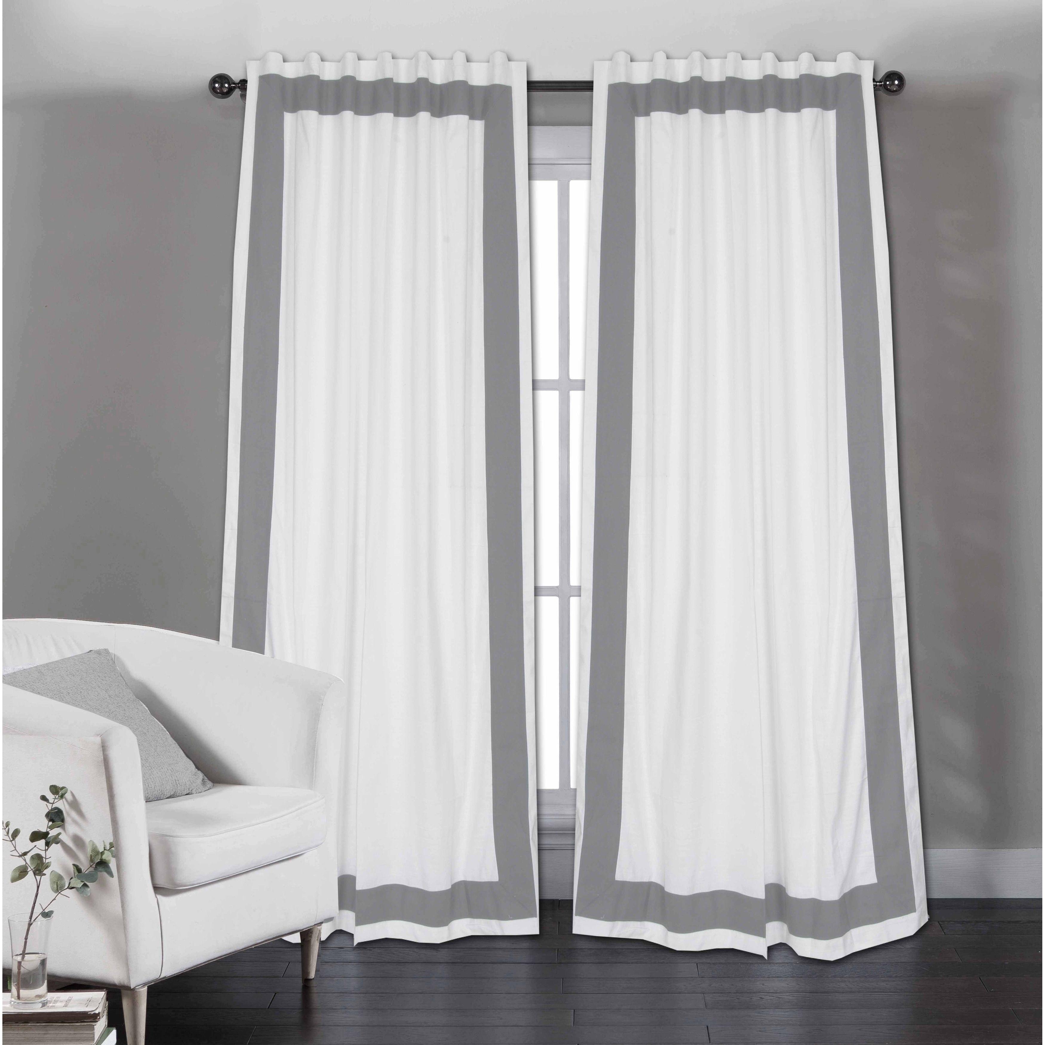 Copper Grove Stavoren White Cotton Curtain Panels With Grey Trim