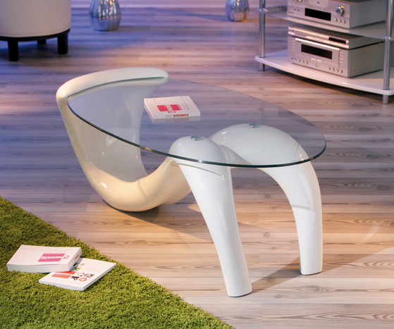 Bella Glass Coffee Table In Curved High Gloss White