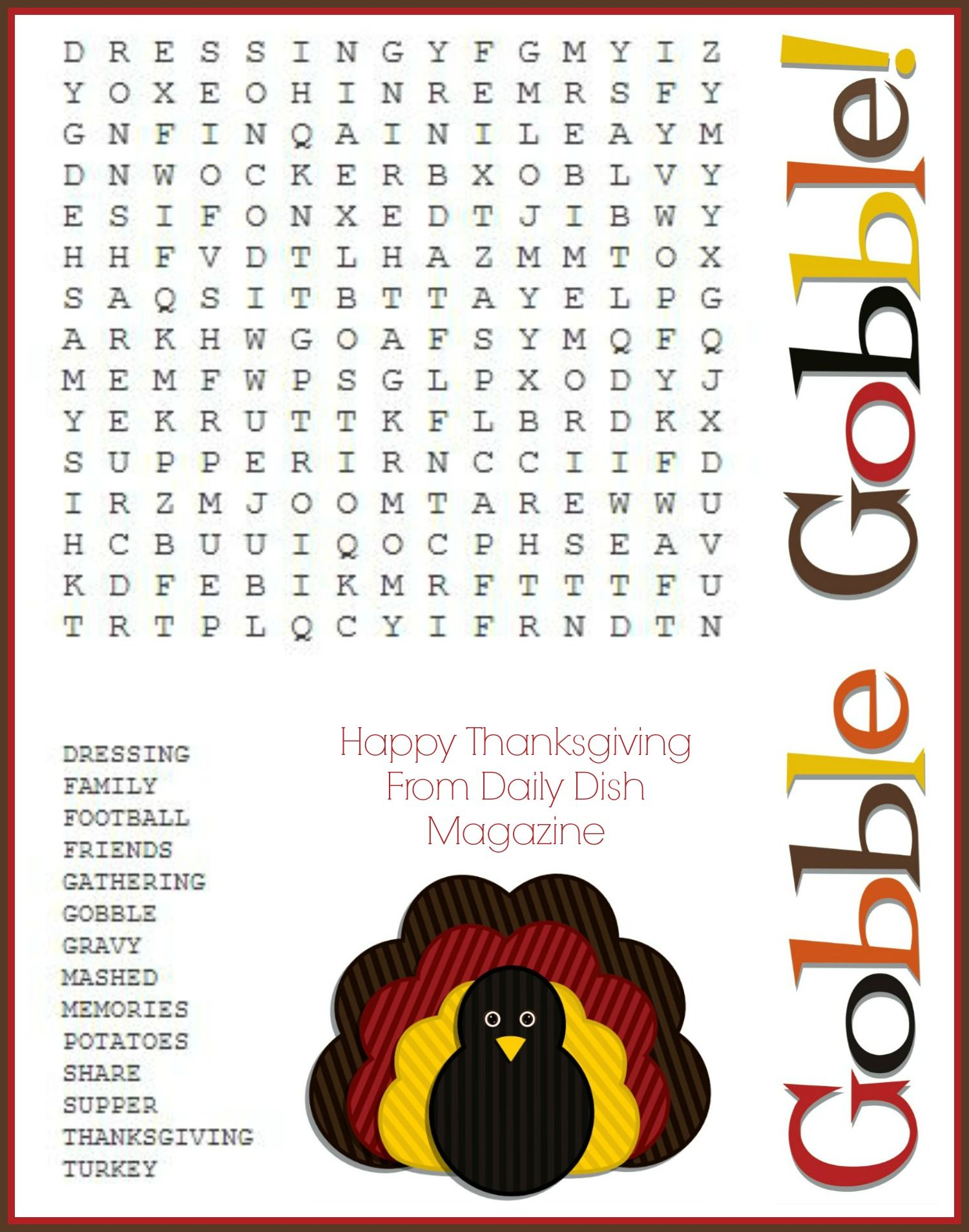 Free Thanksgiving Puzzles ~ Word Search and Maze Printable