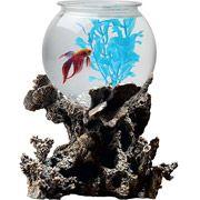 Betta Treasures Coral 1-Gallon Fish Bowl with LED - $23