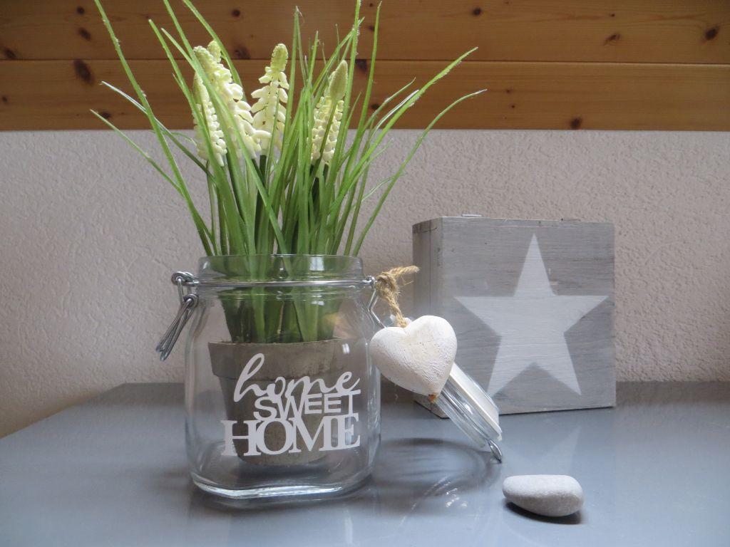einmachglas versch nert und dekoriert home sweet home. Black Bedroom Furniture Sets. Home Design Ideas