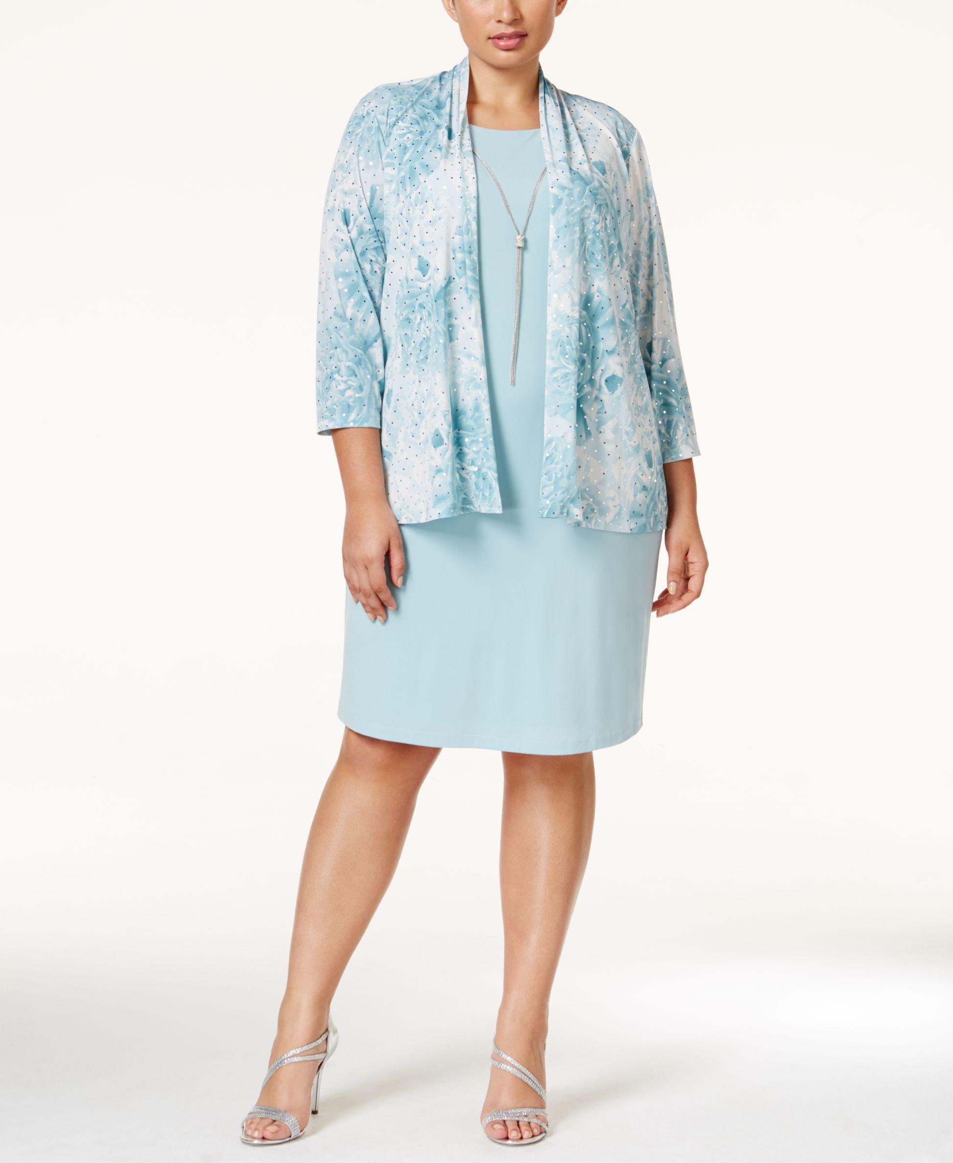 Plus size jacket dress for wedding  Jessica Howard Plus Size LayeredLook Sheath Dress and Printed