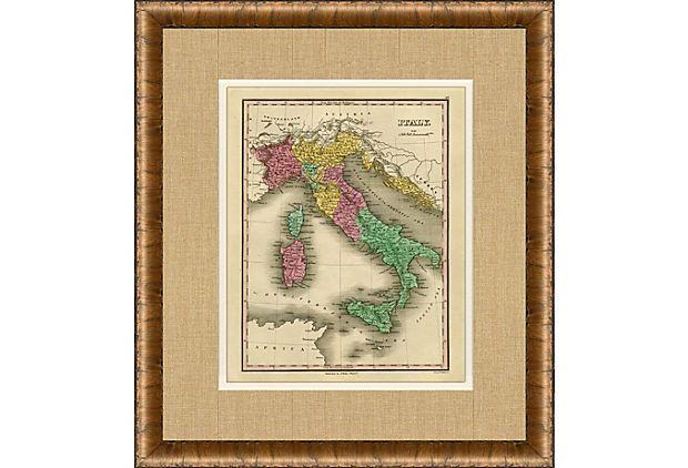 Map of Italy, 1828 on OneKingsLane.com