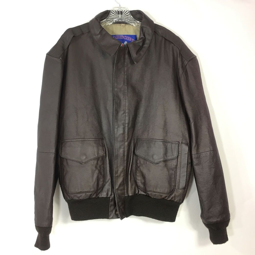 Airborne Bomber Jacket Mens Medium Leather Lined Brown Classic Full Zip Pockets Airborne Flightbomber Bomber Jacket Bomber Jacket Mens Jackets [ 1000 x 1000 Pixel ]