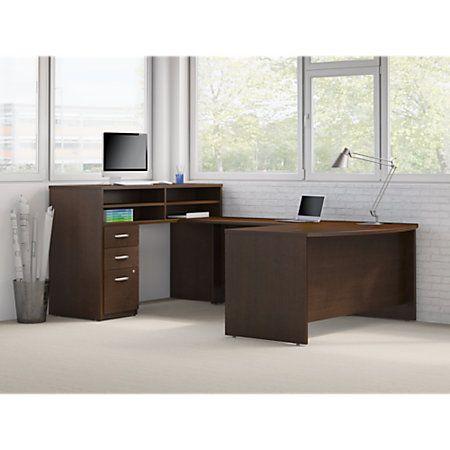 Bush Business Furniture Components Elite W X D Bow Front U - 36 desk with drawers