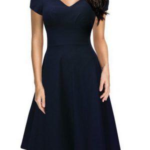 Missmay Damen Knielang V-Ausschnitt Business Abenkleid Festlich Partykleid Blau