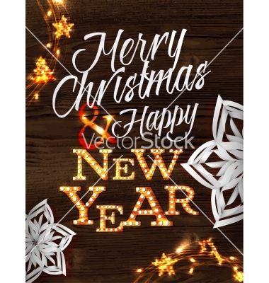 Christmas garland with lights poster vector by anna42f on VectorStock®
