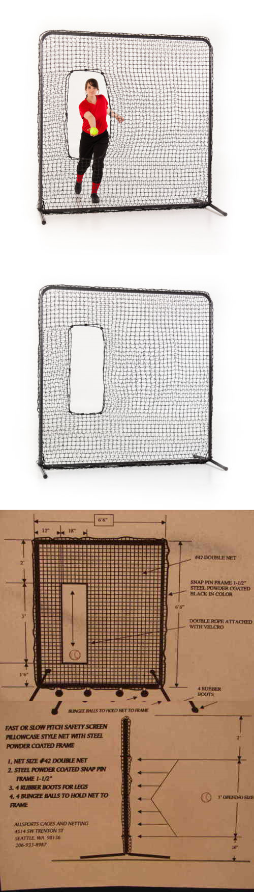 Batting Cages and Netting 50809: Softball Baseball Pitching Screen W ...