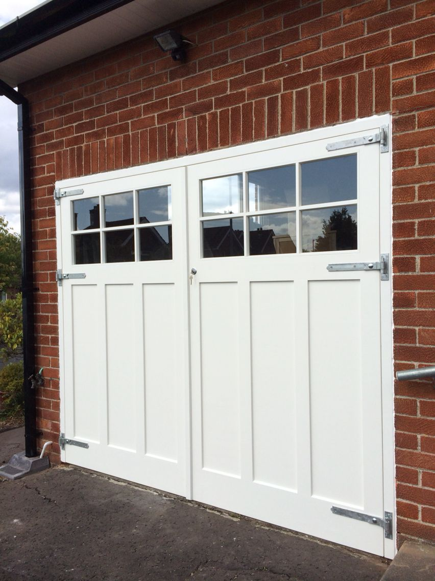Made to measure, painted garage doors with glazed top panels ...