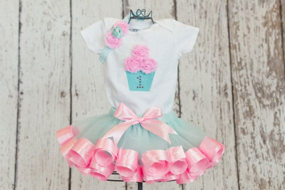 234429e538c96 First Birthday Baby Girl Onesie/T-Shirt w/ 3D Cupcake & Rhinestone Age  Number-Matches Aqua and Pink Ribbon Trim Tutu (TUTU NOT INCLUDED)