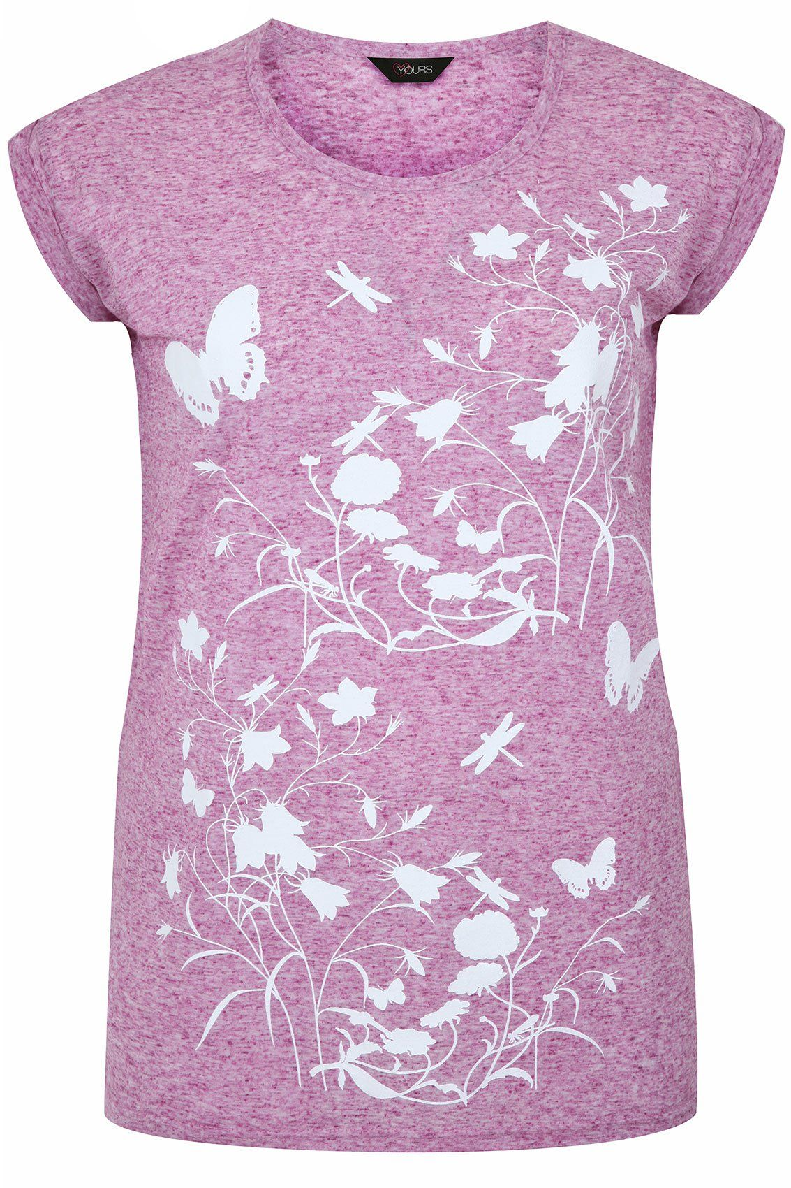 95eb79164c2 Yoursclothing Plus Size Womens Floral Butterfly Print Short Sleeve T-shirt  Size 24-26 Pink