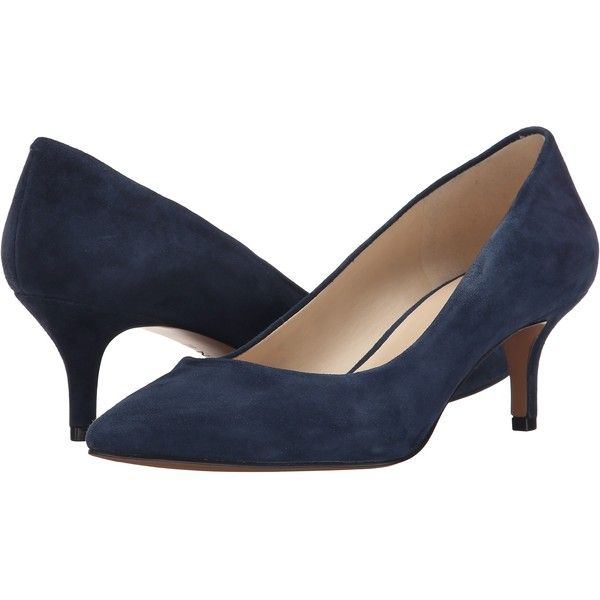 9afb29ea9 Nine West Xeena (Navy Suede) Women's 1-2 inch heel Shoes ($40) ❤ liked on  Polyvore featuring shoes, pumps, blue, kitten heel pumps, blue pointed toe  pumps, ...