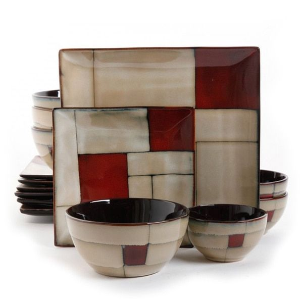 Dinnerware  sc 1 st  Pinterest & Gibson Elite Azeal Taupe Geometric Double Bowl Dinnerware Set (16 ...