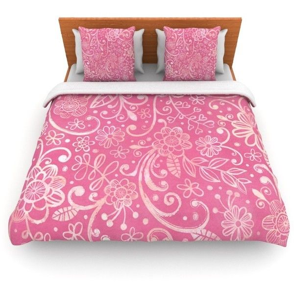 Too Much Pink by Heidi Jennings Woven Duvet Cover Size:... ($300) ❤ liked on Polyvore featuring home, bed & bath, bedding, decor, california king bed linens, california king size bedding, california king bedding, king size bedding and king size bed linens
