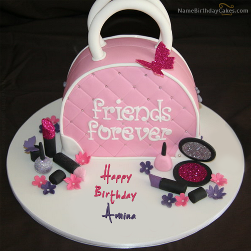 The Name Amina Is Generated On Fashion Birthday Cake For Girls