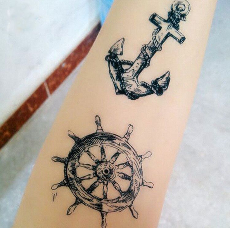 Anchor Henna Tattoo: Anchors Rudder Temporary Tattoo Summer Style Vintage