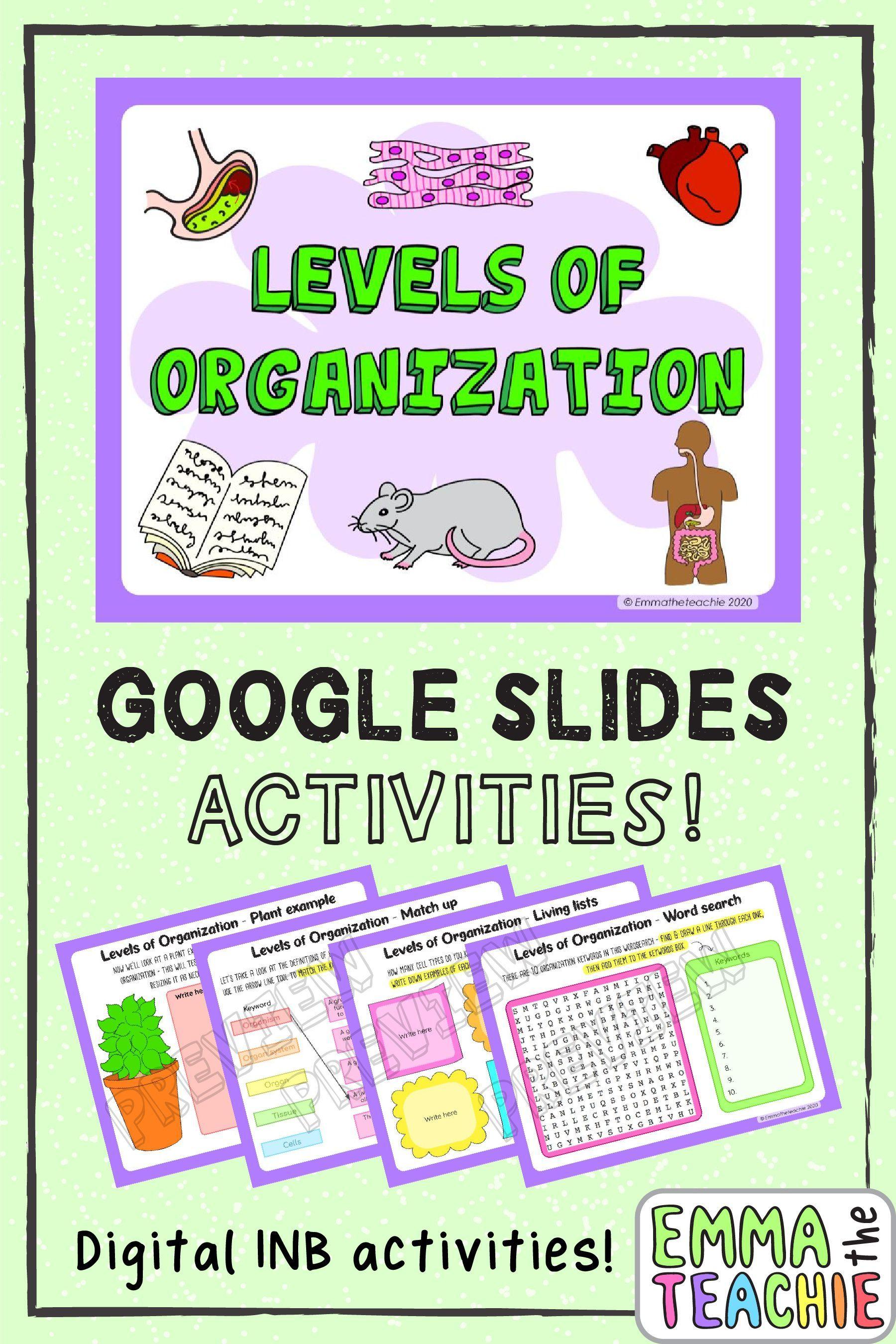 Levels Of Organization Digital Inb And Quiz Google Slides Forms Levels Of Organization Biology Biology Activity Biology Resources
