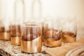 8. Gold #-Dipped Glasses - 28 #Glitzy Gold-dipped #Craft Projects for Your Home ... → DIY [ more at http://diy.allwomenstalk.com ]  #Vase #Log #Source #Pumpkins #Confetti