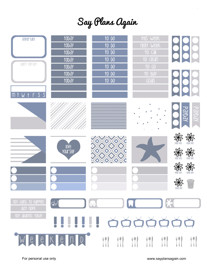 Say Plans Again: Weekly Wednesday! Free Printable - Starfish Weekly Layout