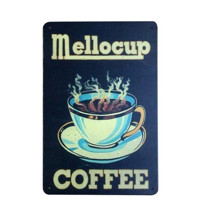 Metal Tin Sign mellocup coffee Bar Pub Vintage Retro Poster Cafe ART