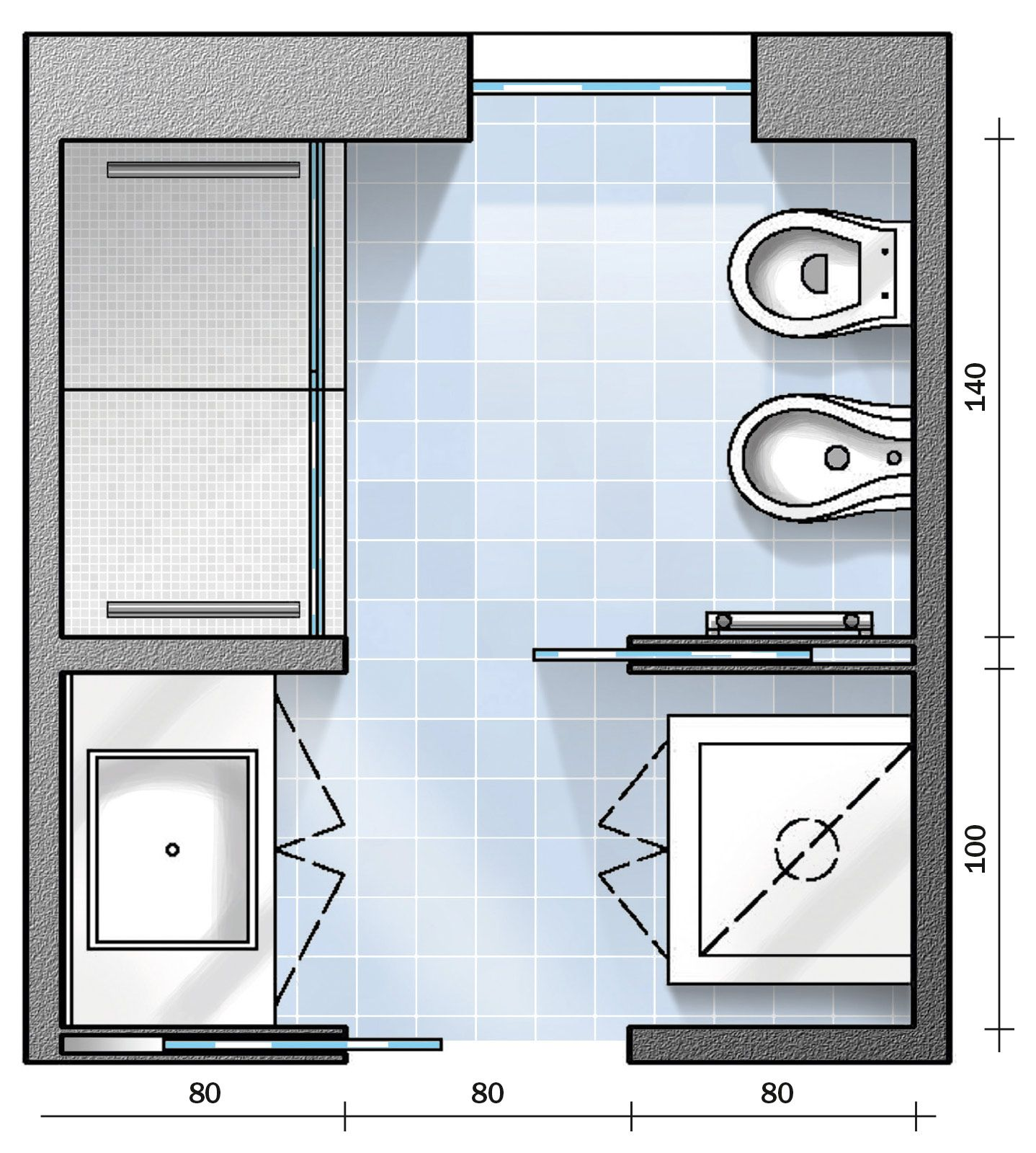 Per un bagno di 6 mq, di forma approssimativamente quadrata, vi diamo tre div...