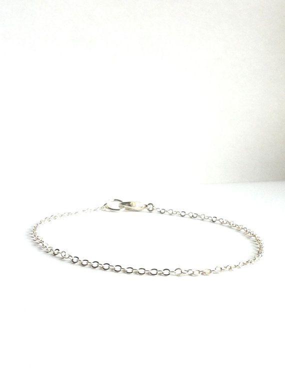 Thin Silver Bracelet Simple Silver Layering Bracelet Silver