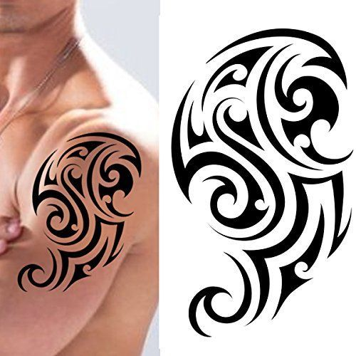 Black Henna Tattoo Uk: Black Temporary Tattoo Tribal Body Arm Shoulder Aztec