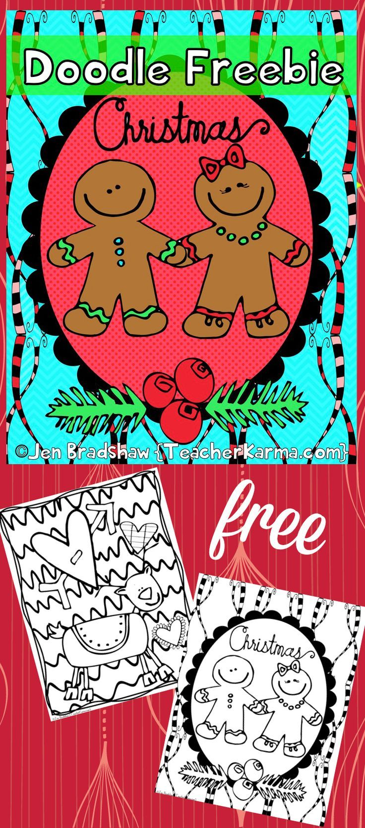 free christmas doodle fun pages to color lots of detail freebie
