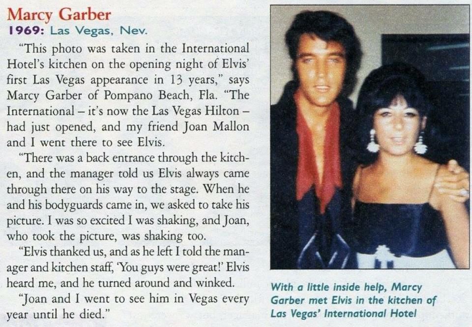 Elvis Presley with fan Marcy Garber in the kitchen of the