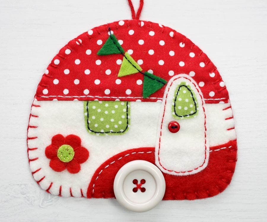 Vintage caravan sewing pattern PDF felt Christmas ornament