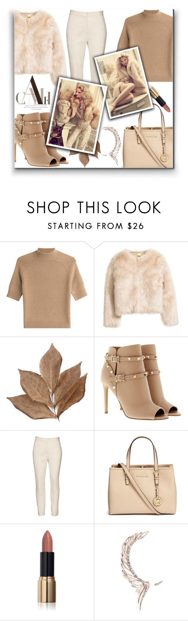 """Neutral"" by kawtar-el ❤ liked on Polyvore featuring Theory, Bliss Studio, Valentino, Reed Krakoff, Michael Kors, Ciaté, Cristina Ortiz and neutrals"