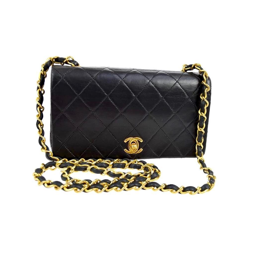 16b718935472 Chanel black lambskin crossbody bag Gold hardware excellent pre owned  condition measures 7.5 x 4.3 x 2.4