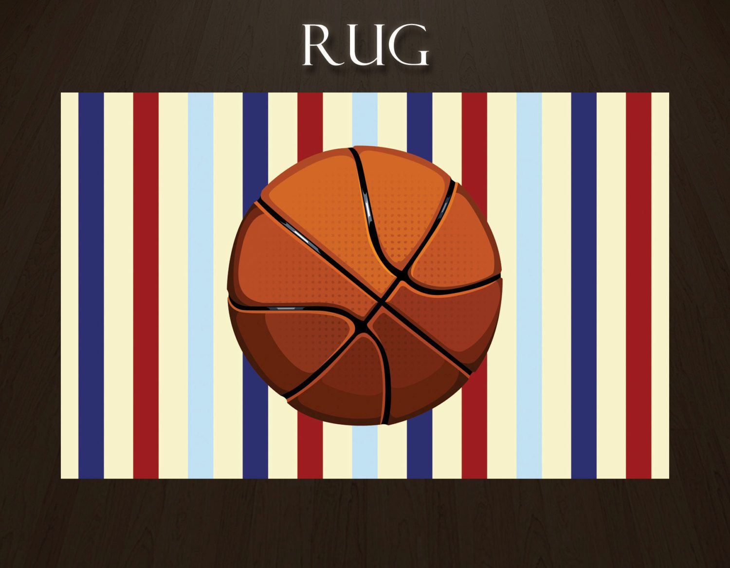 Basketball Rug Sports Area Rugs Kids Navy Striped Red