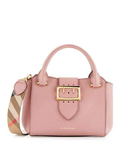 BURBERRY Buckle Small Leather Tote Bag, Dusty Pink. #burberry ...
